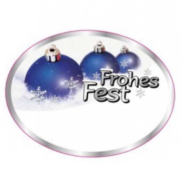 "Oval ""Frohes Fest"" 64x48mm 4-farbig"