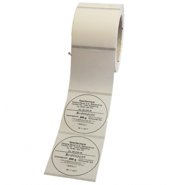 Etiketten 70mm Kreis transparent