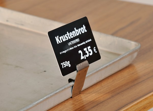 Preisschildhalter aus Edelstahl für Bleche mit hoher Kante