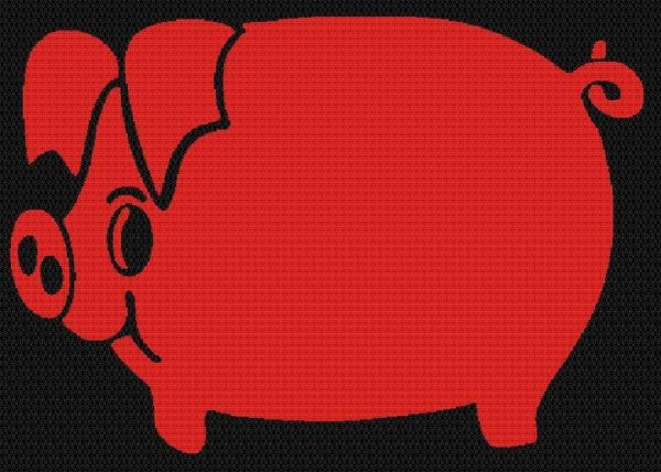 Schweinchen, leucht-rot, DIN A7