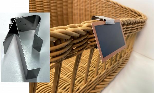 Preisschildhalter aus Edelstahl für Körbe schräg 35 Grad ( 10 Stück )