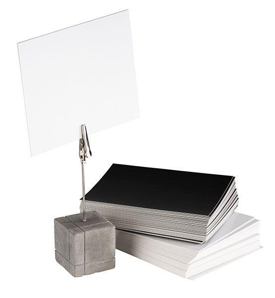 Kartenhalter mit Betonfüßchen und Krokoklemme, 4er Set