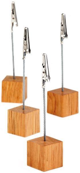 Preisschildhalter mit Holzfuss und Kroko-Klemme