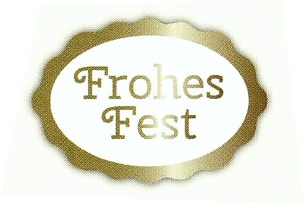 """Frohes Fest"" oval 25x18 weiß/gold"