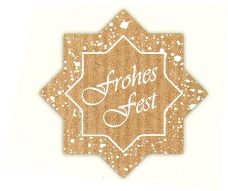 """Stern """"Frohes Fest"""" braun-natur KLEIN"""