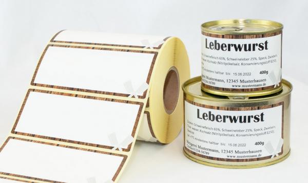 Etiketten 115x50mm ( Dosenetiketten ) rustikal / Holzoptik