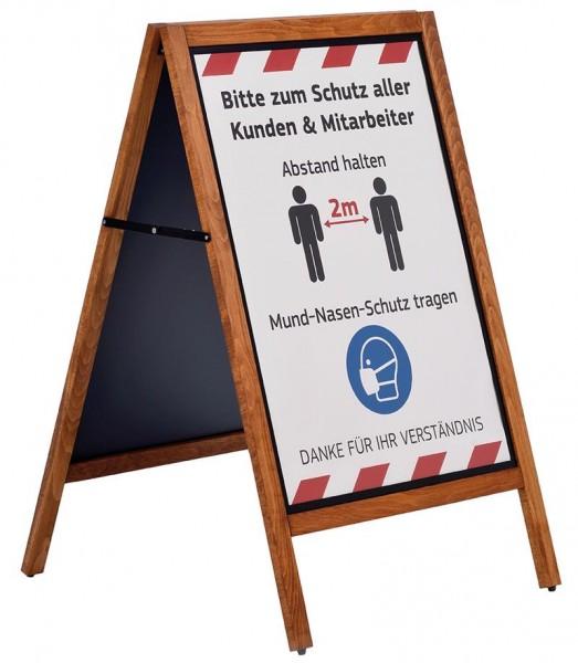 Holzständer mit schwarzer Metalltafel und Plakatsystem DIN A1