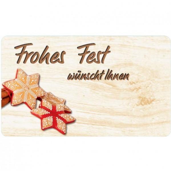 Eckig -Frohe Fest, Holzoptik- 50x30mm