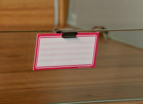 Preisschildhalter aus Edelstahl für Regale (senkrecht) 20mm