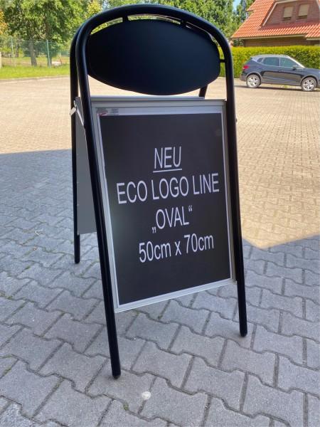Plakatständer ECO-LOGO-OVAL, 50x70mm, schwarz