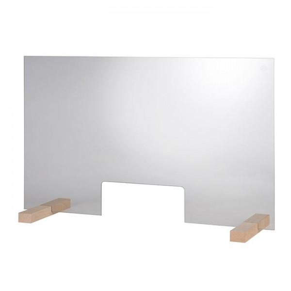 Hygieneschutzwand GLAS 75 x 47,5 cm mit Öffnung