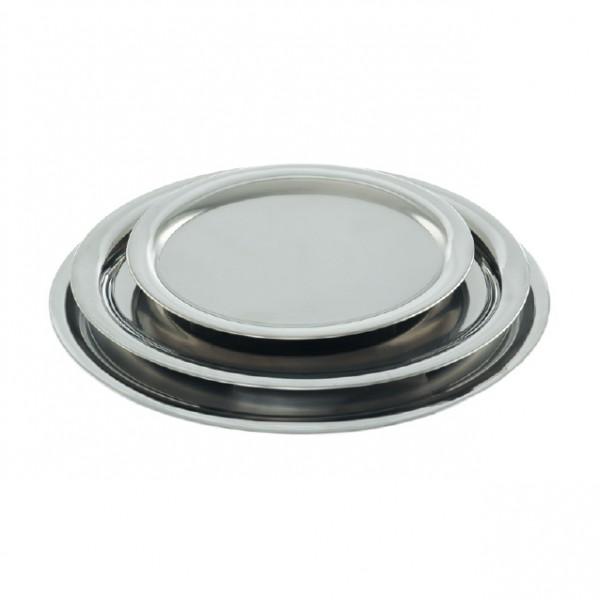 Serviertablett Oval aus Edelstahl, hochglanz poliert oder matt