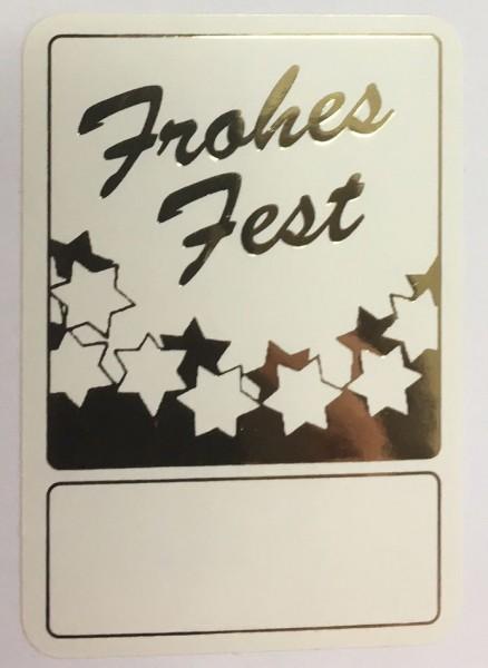 Frohes Fest - Eckig - weiß / gold 35x50mm