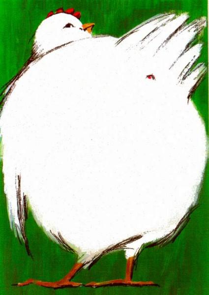 Geflügelmotiv, 4- farbig  SONDERPREIS !