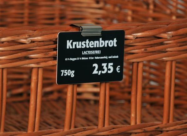 Preisschildhalter aus Edelstahl für Körbe oder Rohrstangen
